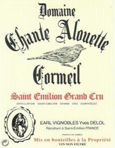 Etiquette d'une bouteille de Chante Alouette Cormeil