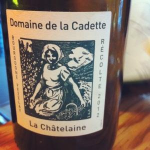 Bourgogne Vezelay - Domaine de la Cadette - La Châtelaine 2012 - Insta