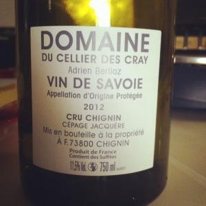Savoie - Domaine du cellier des cray - Cru Chignin - 2012 - Adrien Berlioz - Insta - dos