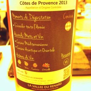 Côtes de Provence - La Vallée du Renard - Gamme Convivial - 2013 - Insta