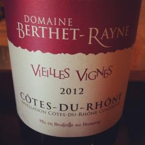 Côtes du Rhône - Domaine Berthet-Rayne - Cuvée Vieilles vignes - 2012 - Insta