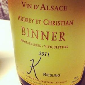 Alsace - Audrey et Christian Binner - Riesling - Cuvée K - 2011 - insta