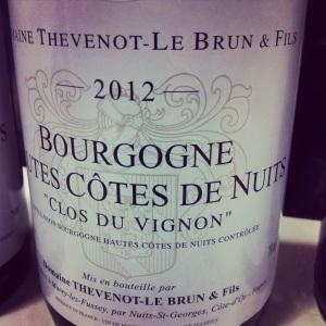 Bourgogne - Hautes Côtes de Nuits - Domaine Thevenot-Le Brun - Clos du Vignon - 2012 - insta
