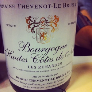 Bourgogne - Hautes Côtes de Nuits - Domaine Thevenot-Le Brun - Les Renardes 2012 - insta