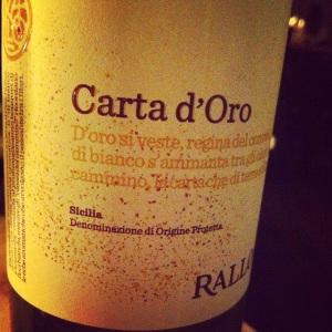 Italie - Sicile - Azienda Agricola Rallo - Carta d'oro - Catarratto - 2013 - insta
