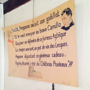 Affiche dans la salle de dégustation - Pradeaux