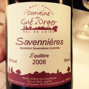 Vallée de la Loire - Savennières - Loïc Mahé - Equilibre - 2008