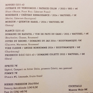 Dune - Restaurant Paris - Carte des vins