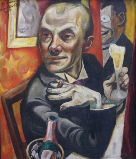 Berlinischegalerie - Max Beckmann - Selbstbildnis mit Sektglas