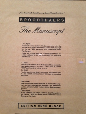 Marcel Broodthaers - The Manuscrit