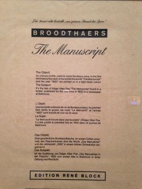 Marcel Broodthaers - The Manuscrit