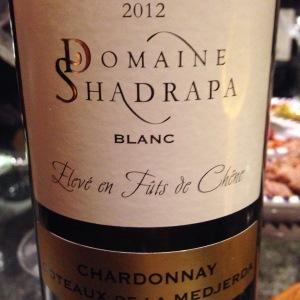 Tunisie - Coteaux de la Medjerda - Domaine Shadrapa - 2012 - Chardonnay - blanc