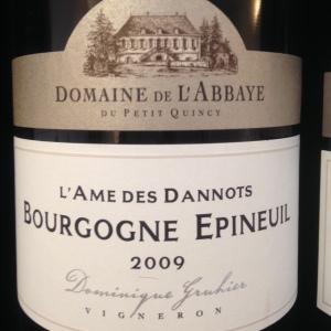 Bourgogne - Domaine - Abbaye du Petit Quincy - Domaine Gruhier - Bourgogne Epineuil - L'Âme des Dannots - 2009