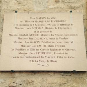 Bar à vins inter-rhone - avignon - festival - Maison des vins plaque