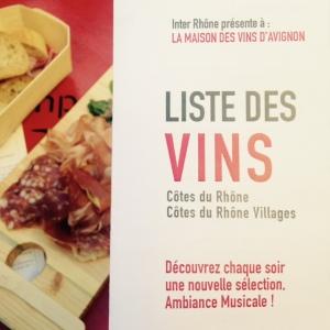 Bar à vins inter-rhone - avignon - festival - planche - liste vins