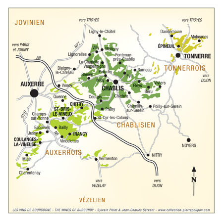 Carte Chablis - Yonne -- S.Pitiot et JC Servant. Les Vins de Bourgogne